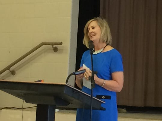 Director of Schools Cathy Beck delivers the State of the District speech in the Cheatham Middle School multipurpose room on Tuesday, Jan. 22.