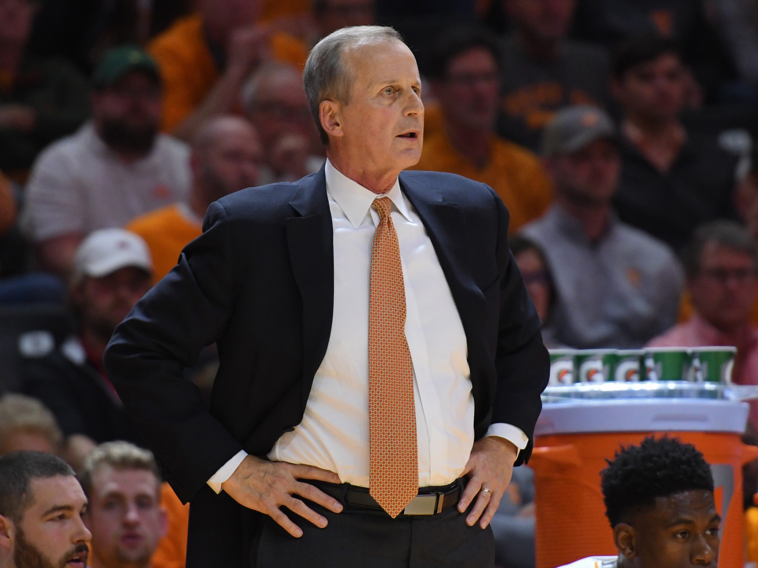 Tennessee Volunteers head coach Rick Barnes during the second half against the Alabama Crimson Tide at Thompson-Boling Arena. Tennessee won 71 to 68.