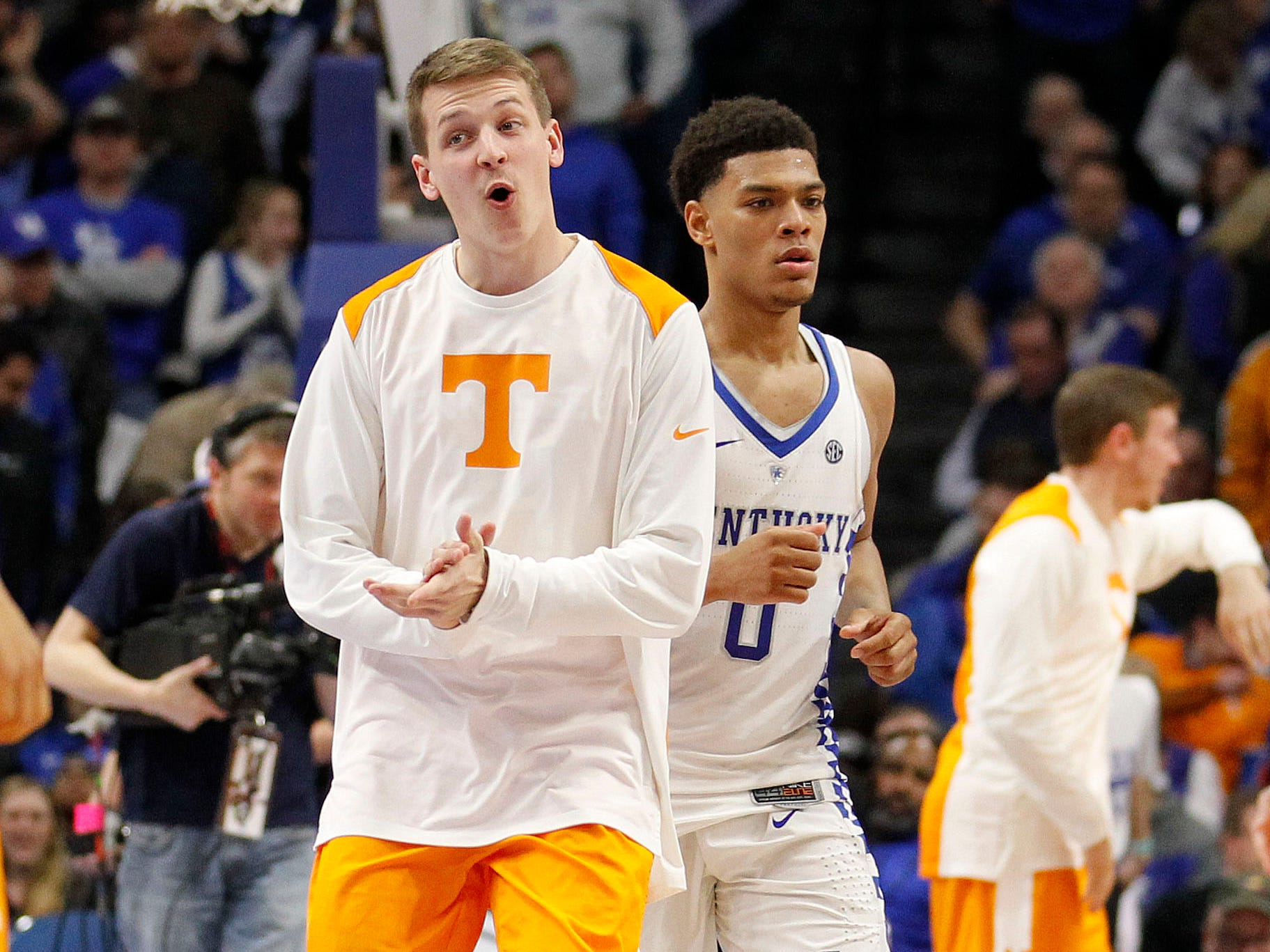 Tennessee Volunteers guard Lucas Campbell (24) celebrates during the game against the Kentucky Wildcats in the second half at Rupp Arena. Tennessee defeated Kentucky 61-59.