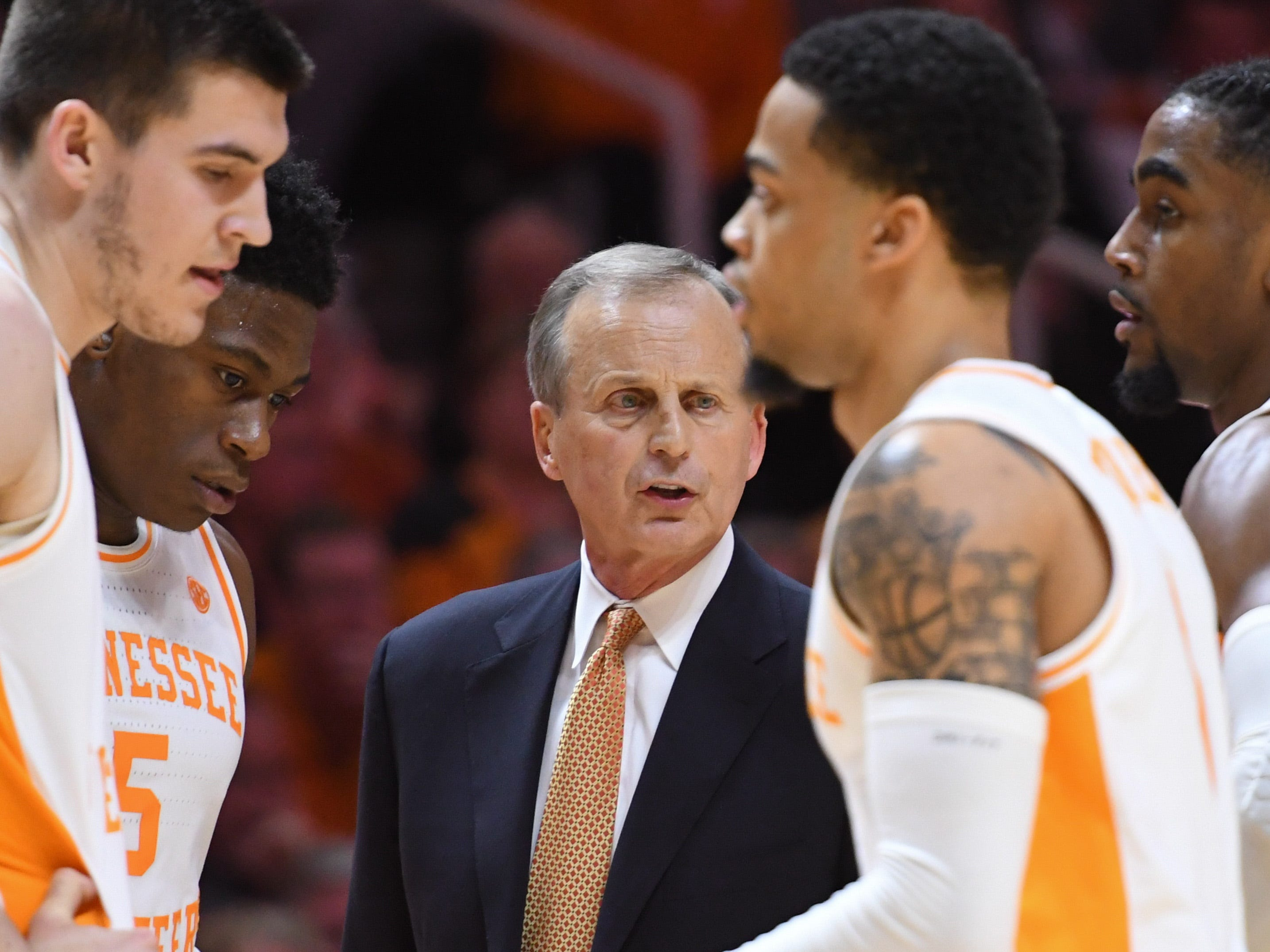 Tennessee Volunteers head coach Rick Barnes speaks to his team during the second half against the Alabama Crimson Tide at Thompson-Boling Arena.