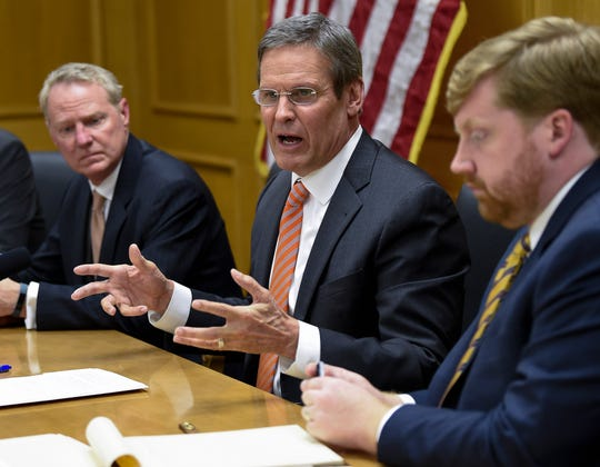 Gov. Bill Lee addresses his cabinet during their first meeting of his administration at the State Capitol on Jan. 22.