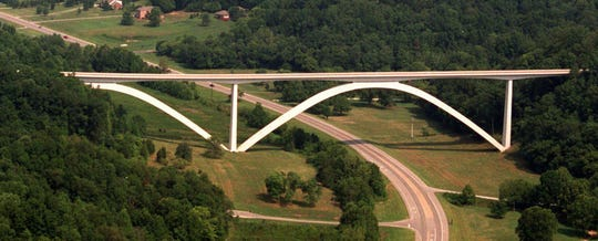 Aerial view of Natchez Trace Parkway Bridge and Hwy 96 West.