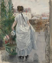 "Berthe Morisot (French, 1841-1895). ""Young Woman Watering a Shrub,"" 1876. Oil on canvas, 15 3/4 x 12 1/2 in. Virginia Museum of Fine Arts, Richmond, Collection of Mr. and Mrs. Paul Mellon, 83.40."