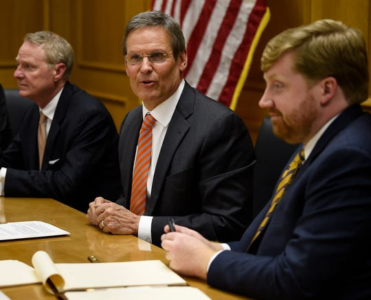 Gov. Bill Lee addresses his cabinet during their first meeting of his administration at the State Capitol on Tuesday.