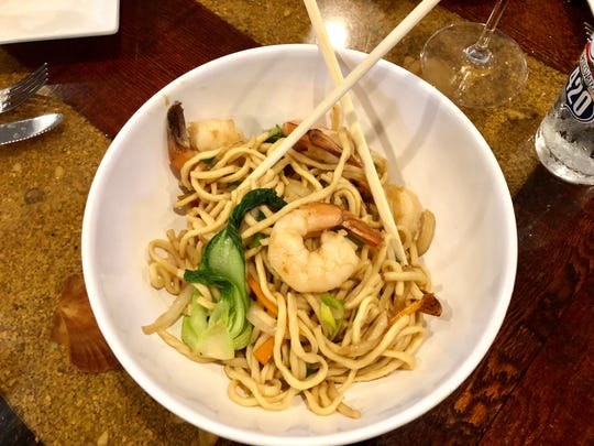 A shrimp noodle bowl on the menu at Drop the Anchor was once like a lo mein before it transformed into a brothy soup.