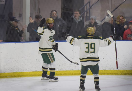 Justin Rauch (no. 61) of St. Joseph reacts after scoring his second goal against Indian Hills in the  period during the the Bergen County hockey semifinals at Ice Vault Arena in Wayne on 01/21/19.