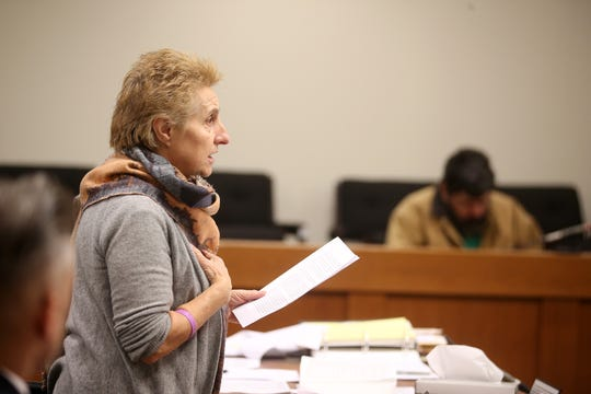 Angela Cimino, mother of Giorgina Cimino Nigro, speaks as Vito Nigro of Woodbridge, who faces 27 years in prison for killing his ex-wife Giorgina Cimino Nigro in the home they still shared in 2015 and pleaded guilty to aggravated manslaughter in December, appears for his sentencing before Judge Colleen M. Flynn at Middlesex County Courthouse in New Brunswick, NJ Tuesday January 22, 2019.
