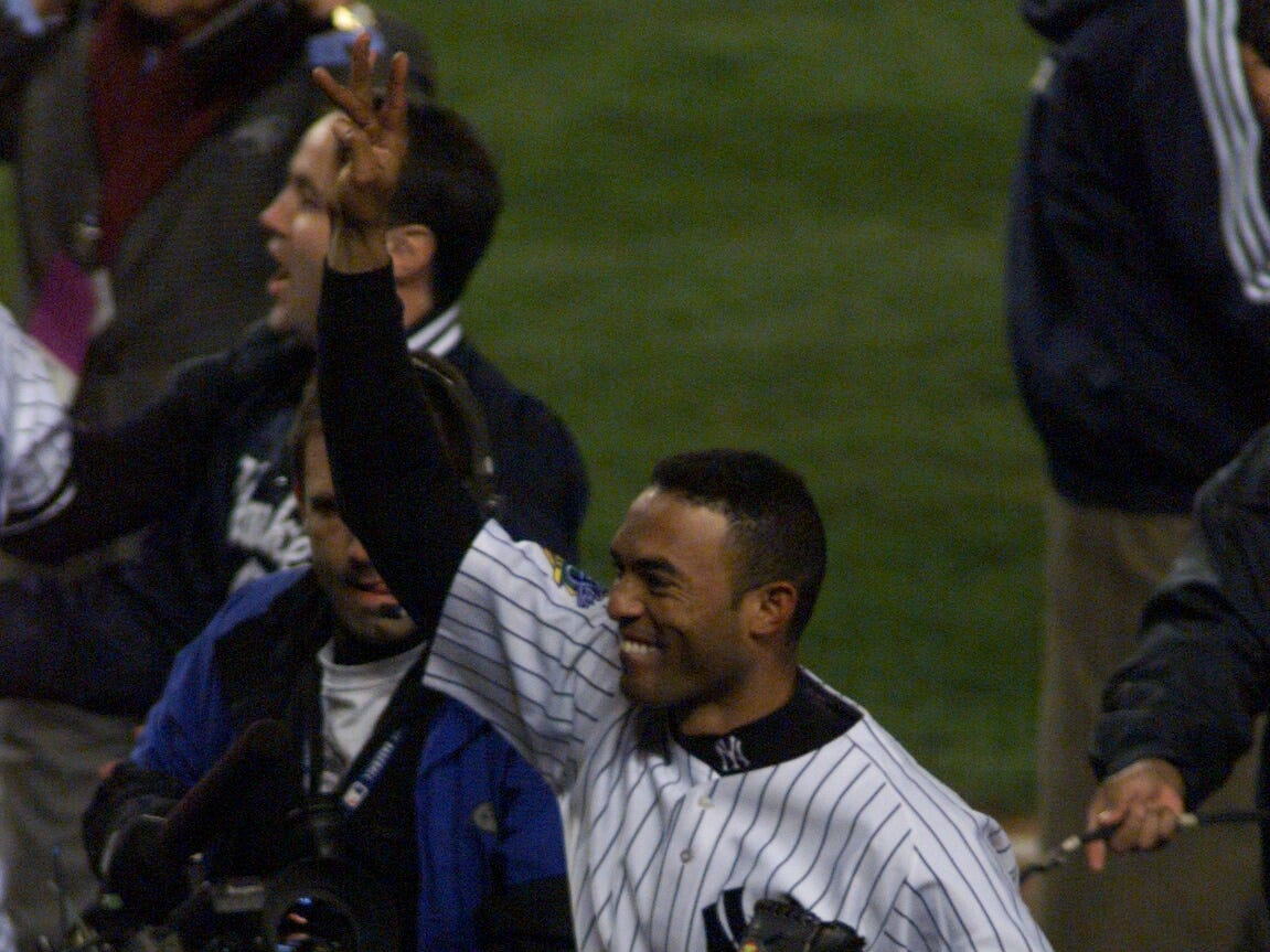 World Series MVP Mariano Rivera waves to fans in 1999.