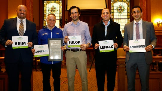 (Left to Right) Jim Heim, SVP, Event Development & Production, NYRR; Michael Capiraso, President & CEO, NYRR; Jersey City Mayor Steven Fulop; Jamie LeFrak, Vice Chairman of LeFrak; Robby Andrews, Olympian and 2017 U.S. Track and Field Outdoor National Champion.