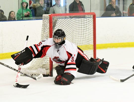 Senior goaltender Luke Joyce and the top-seed Lakeland hockey team defeated fifth-seed West Milford/Pequannock on Monday night Jan. 21 in the Passaic County Tournament semifinal round.