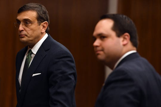 Opening arguments in the trial of (not pictured) Arthur Lomando at the Bergen County Courthouse in Hackensack on Tuesday, January 22, 2019. Lomando, a former New York City police officer, is accused of murdering his ex-girlfriend with a machete. (left) Lomando's attorney Anthony LaPinta. (right) Assistant Bergen County Prosecutor Anthony Talarico.