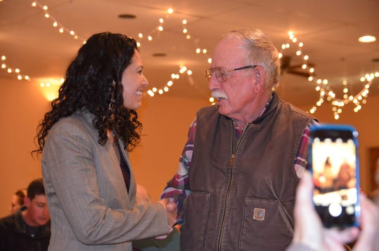From left, Congresswoman Xochitl Torres Small, D-NM, and Luna County Commissioner John Sweetser during her visit to Deming on Sunday.