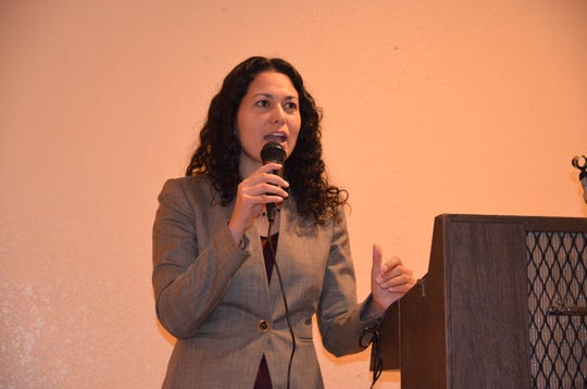 U.S. Rep. Xochitl Torres Small, D-N.M., on a visit to Deming in January.