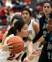 Sophomore Lady 'Cat Brooke Huerta is one of the fastest Deming varsity girls with the basketball. She is expected to provide quality minutes on the floor against Centennial High tonight. Tip off is at 7 p.m. at Frank Dooley Court on the campus of Deming High School.