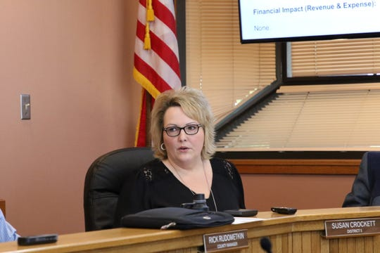 District 5 Eddy County Board of Commissioner Susan Crockett talks during Tuesday's meeting.