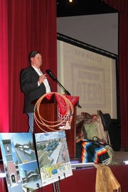 Alamogordo Chamber of Commerce Executive Director G.B. Oliver speaks during the second annual Alamogordo Chamber of Commerce State of the Union Banquet Saturday night.