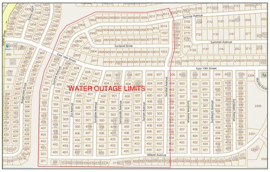 There will be a scheduled water outage Wednesday. The limits of the water outage are from Sunrise Avenue east to Sundial Avenue and from Abbott Avenue north to Sunrise Avenue, and possibly the immediate surrounding areas.