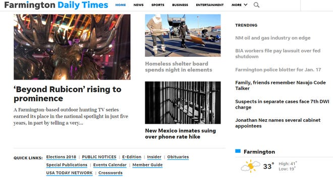 The Farmington Daily Times' homepage links you to all of our subscriber content.