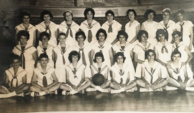 The 7th and 8th grade girl's basketball team at A.I.C. from 1960.