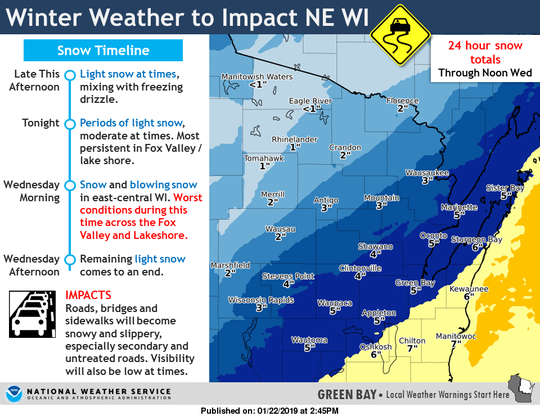 Updated snowfall total predictions for Northeastern Wisconsin, via the National Weather Service.