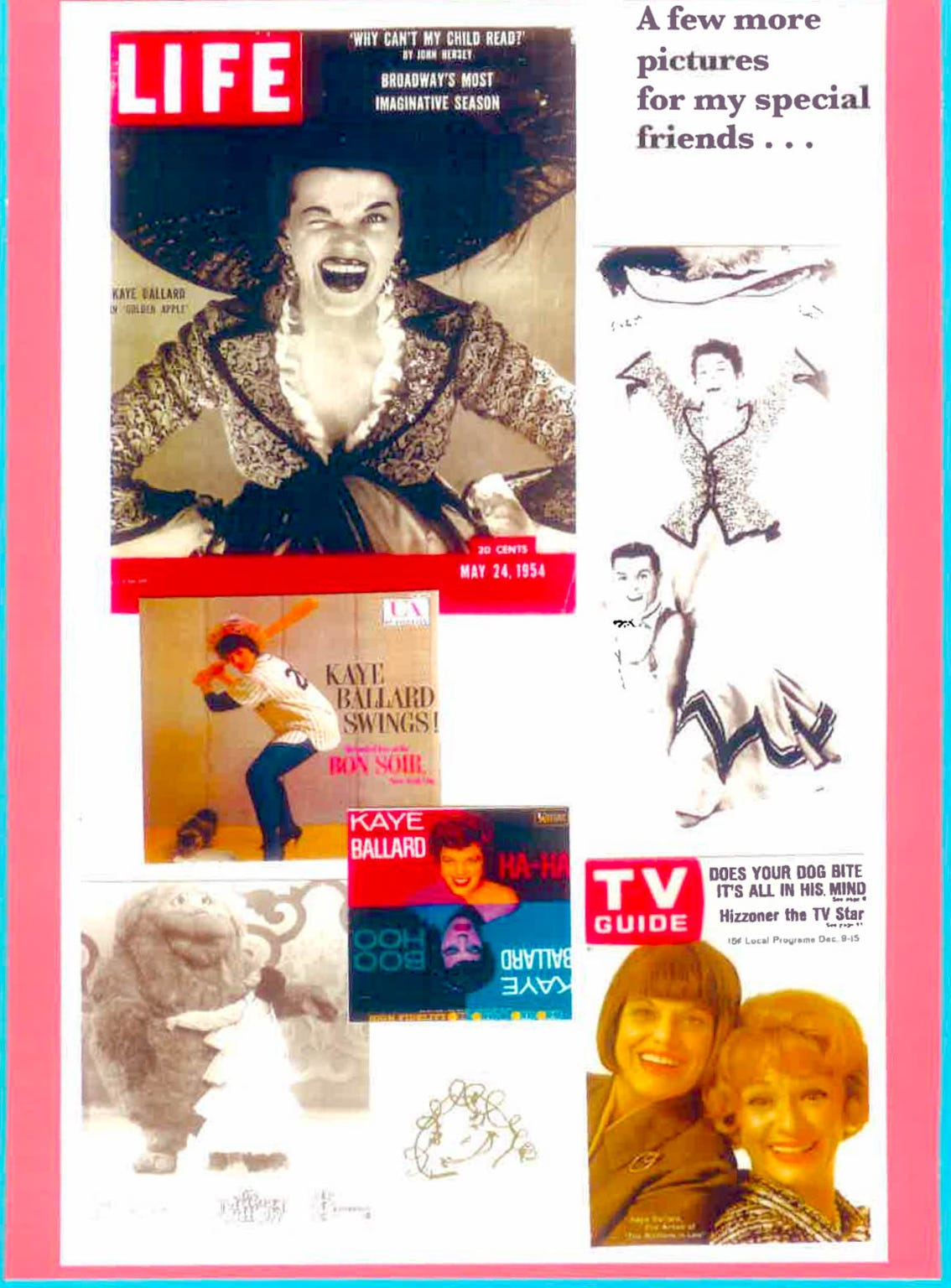 Kaye Ballard assembled a collection of her magazine cover photos for friends, which included her 1953 photograph by Richard Avedon for Life Magazine, at top left. A copy of that photo is hanging on the wall at Keedy's Fountain Grill in Palm Desert.