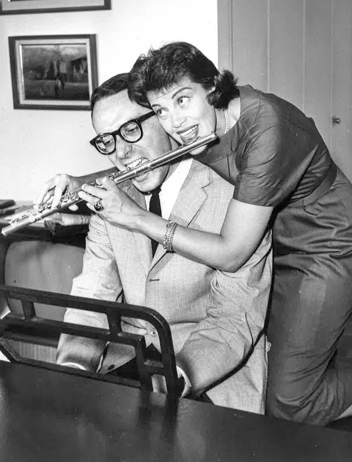 Kaye Ballard shows off her flute and comedy skills with her late friend and  music director, Arthur Siegel.