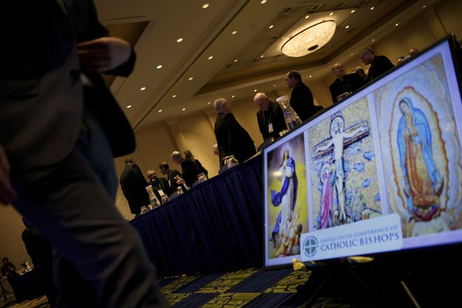 Members of the Catholic church gather for an opening session during the annual US Conference of Catholic Bishops Nov. 12, 2018 in Baltimore, Maryland.