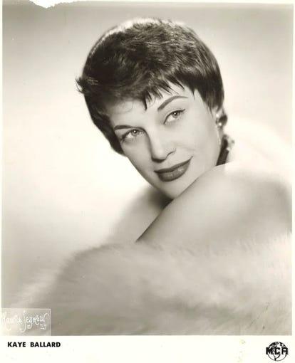 Kaye Ballard, shown in a 1950s portfolio shot for her MCA talent agency.