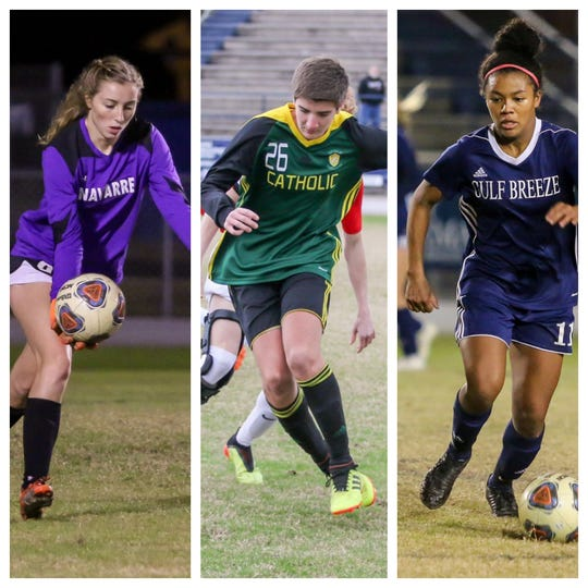 Navarre's Jessika Seward (left), Pensacola Catholic's Jackson Goodspeed (center) and Gulf Breeze's Mya Swinton (right) are all nominees for PNJ Soccer Players of the Week.