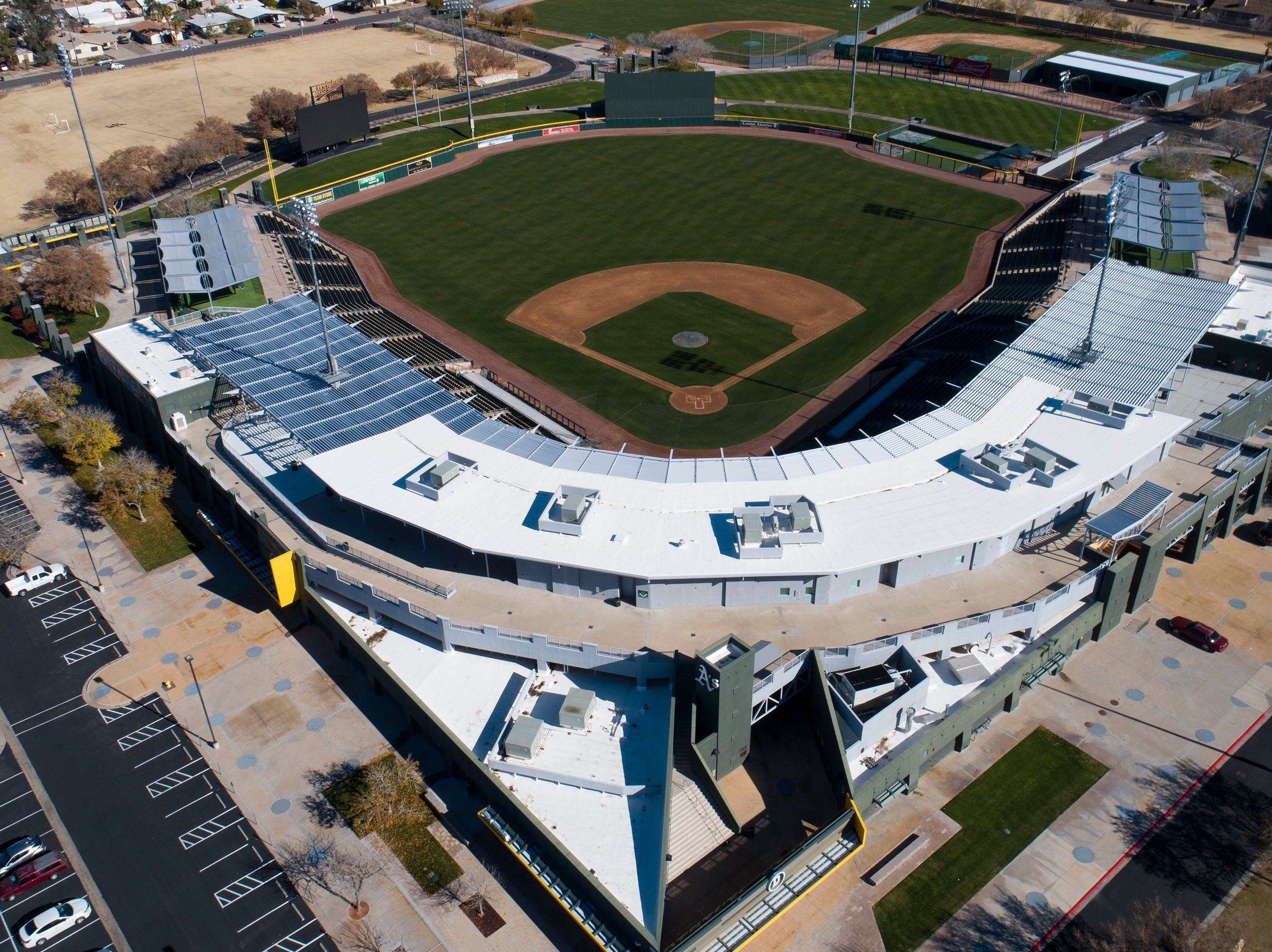 Aerial drone view of HoHokam Park, Cactus League home of the Oakland A's, in Mesa, Arizona January 8, 2019.