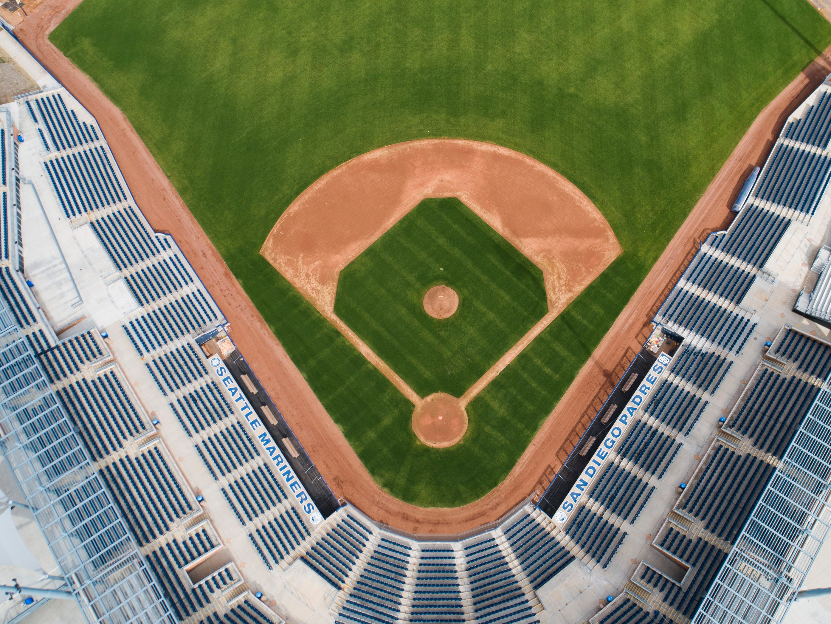 Aerial drone view of Peoria Sports Complex, Cactus League home of the Seattle Mariners and San Diego Padres, in Peoria, Arizona January 9, 2019.