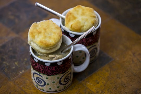 Chicken pot pie with biscuits is pictured on Jan. 17, 2019, at Robin Miller's home in Scottsdale.