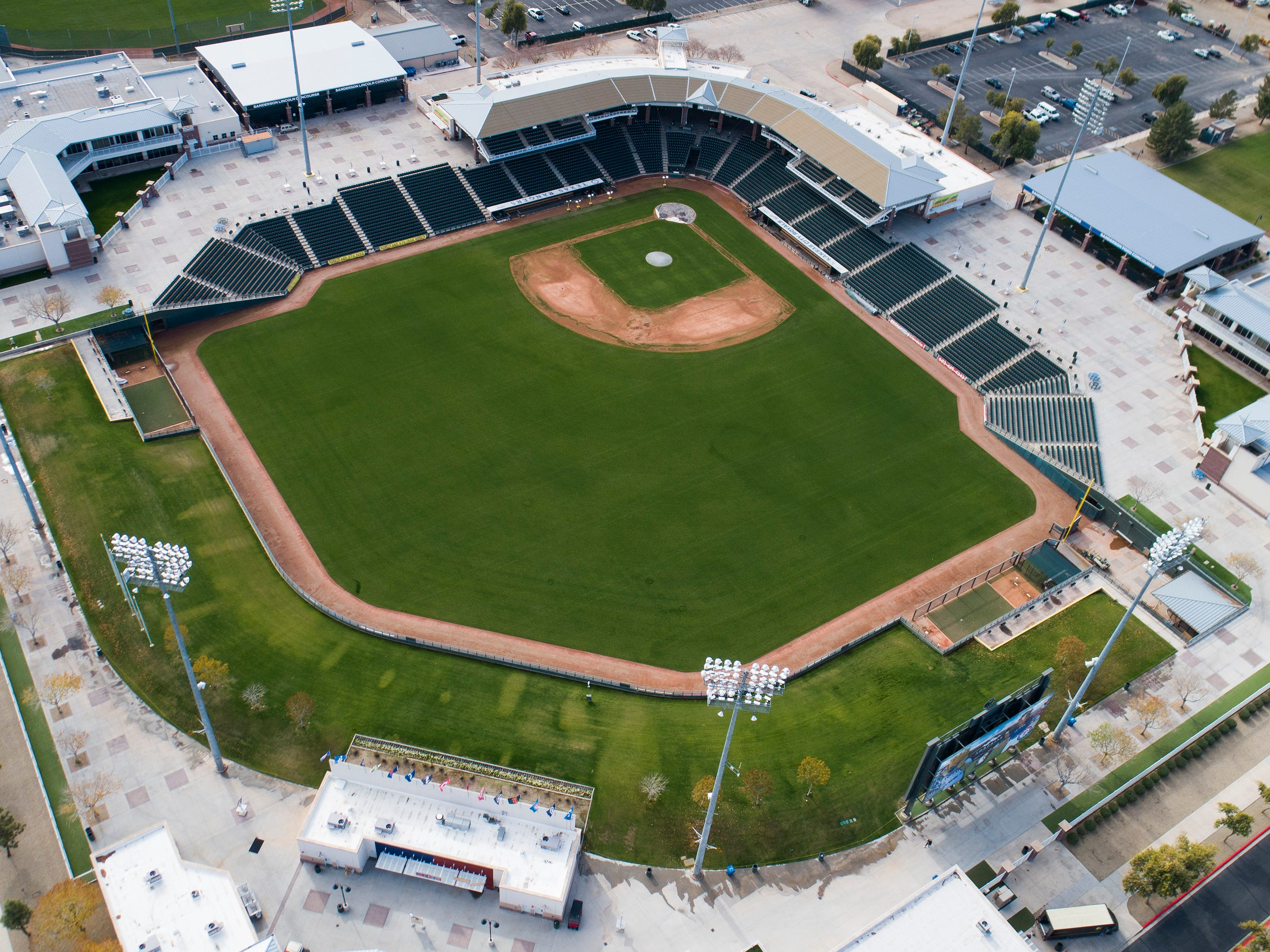 Aerial drone view of Surprise Stadium, Cactus League home of the Texas Rangers and Kansas City Royals, in Surprise, Arizona January 9, 2019.