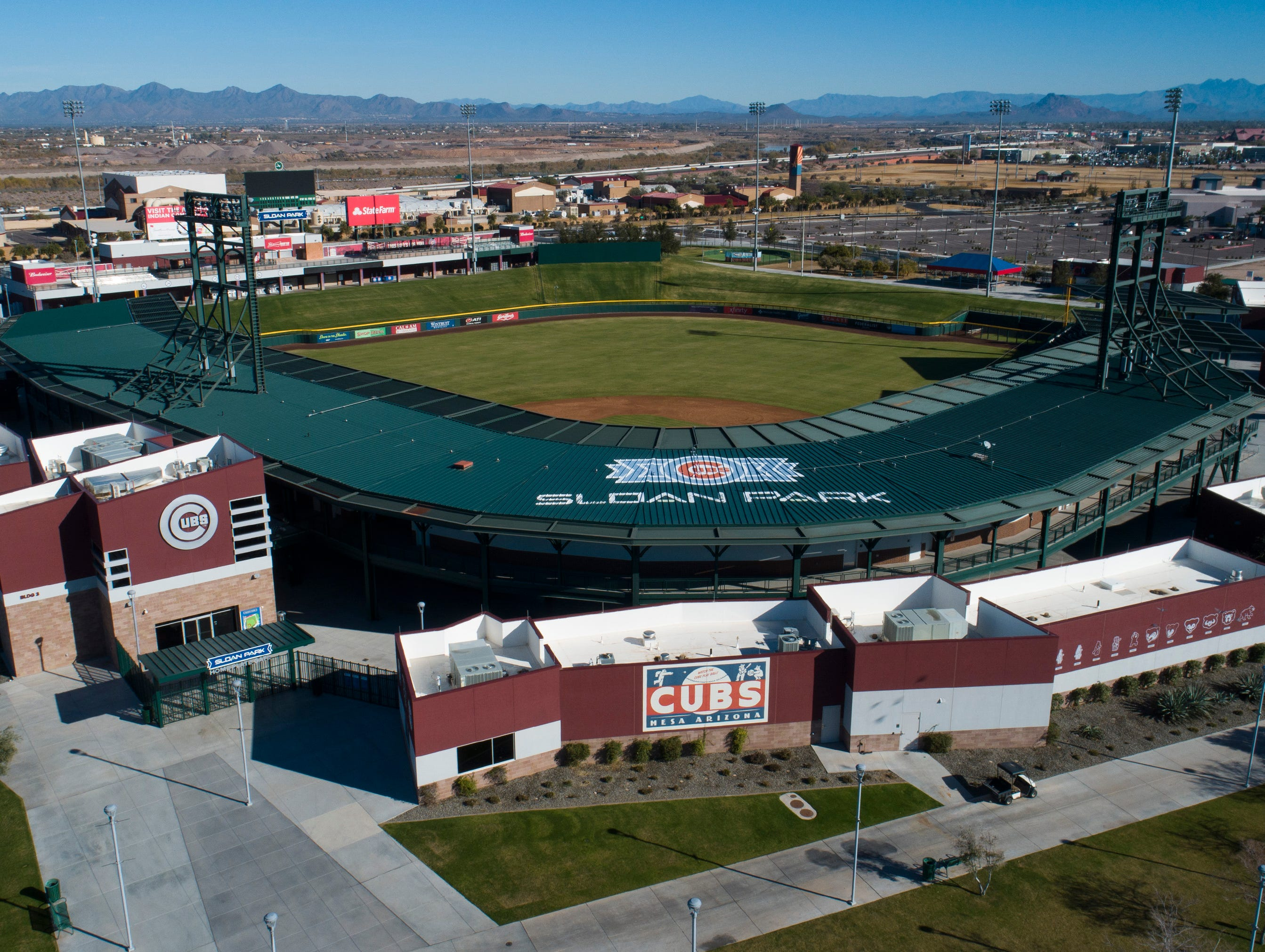 Aerial drone view of in Sloan Park, Cactus League home of the Chicago Cubs, in Mesa, Arizona January 8, 2019.