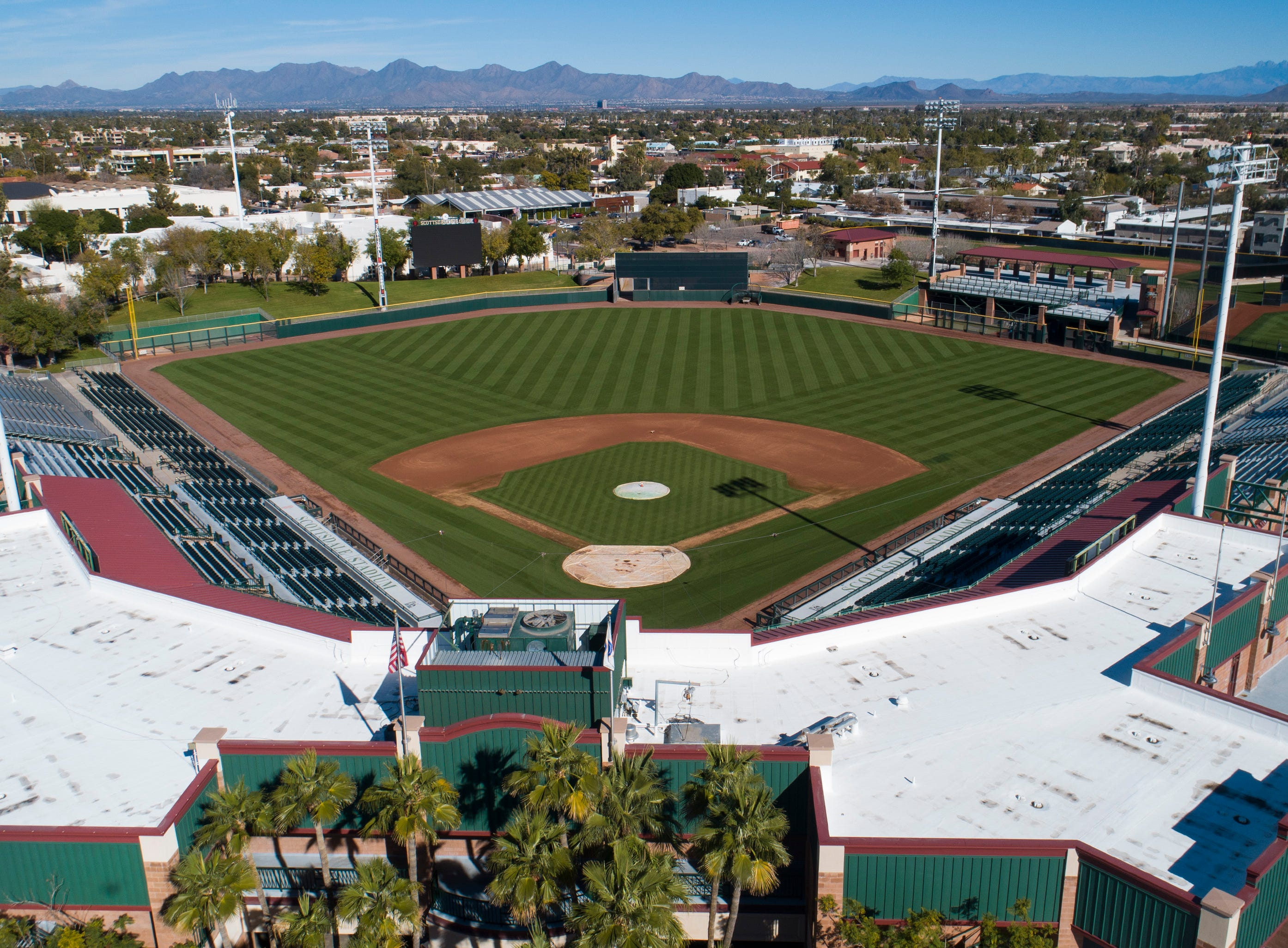Aerial drone view of Scottsdale Stadium, Cactus League home of the San Francisco Giants, in Scottsdale, Arizona January 8, 2019.