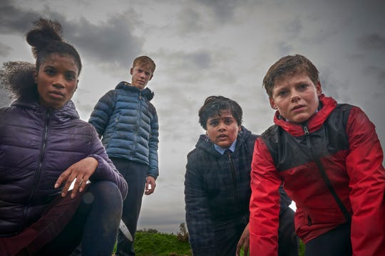 "Rhianna Dorris (from left), Tom Taylor, Dean Chaumoo and Louis Ashbourne Serkis star in ""The Kid Who Would Be King."""