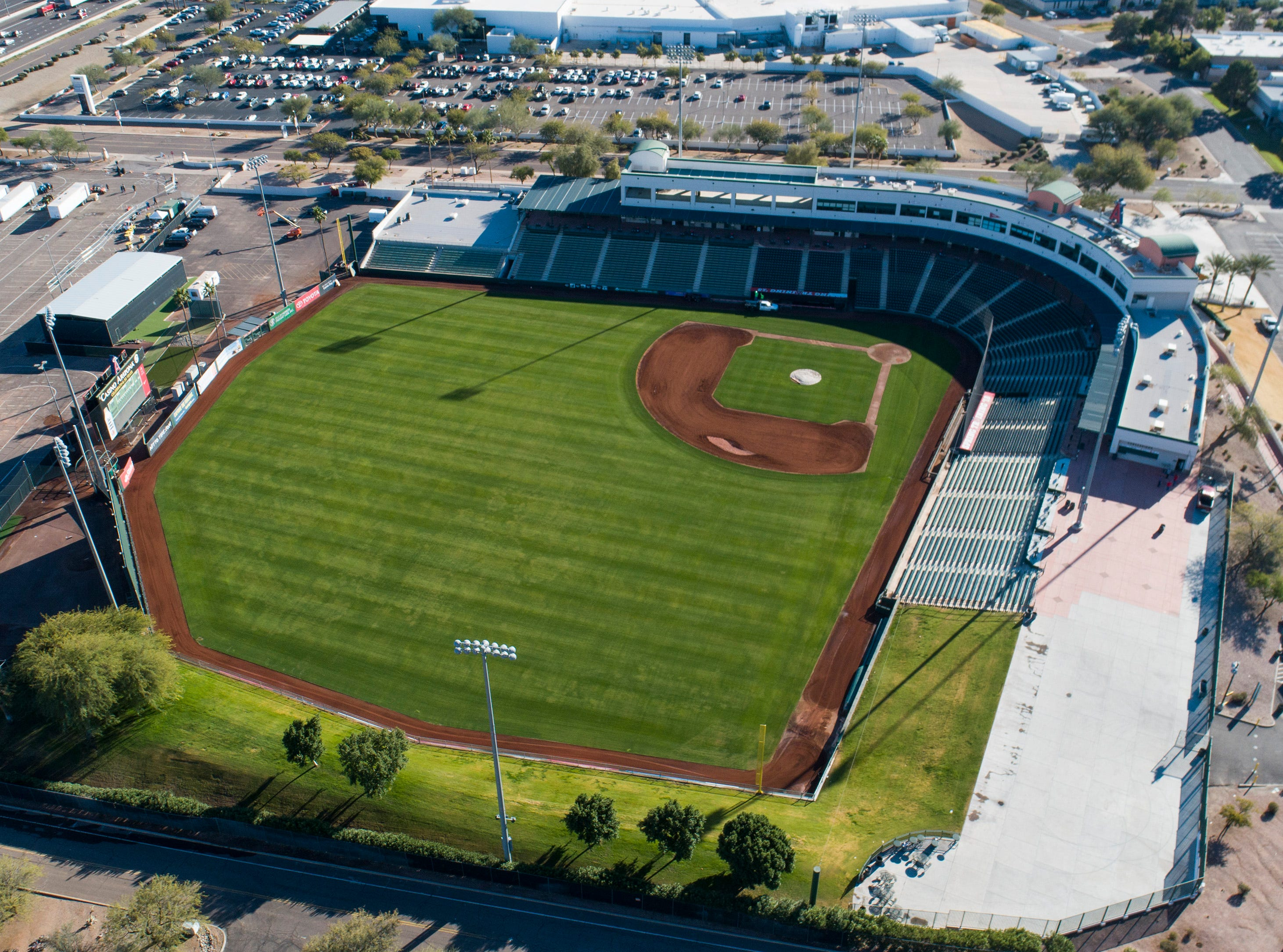Aerial drone view of Tempe Diablo Stadium, Cactus League home of the Anaheim Angels, in Tempe, Arizona January 9, 2019.