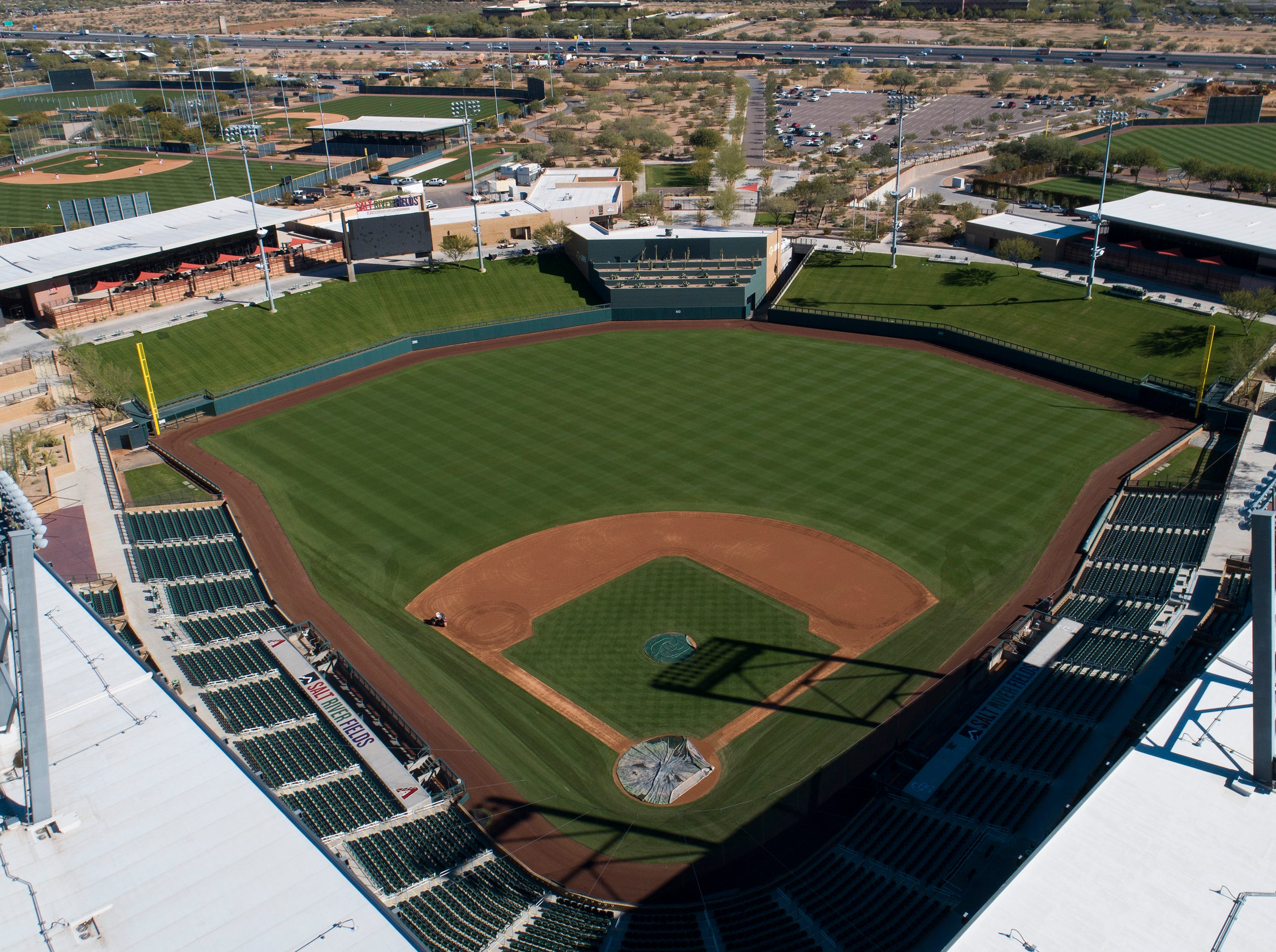 Aerial drone view of Salt River Fields at Talking Stick, Cactus League home of the Arizona Diamondbacks and Colorado Rockies, in Scottsdale, Arizona January 8, 2019.