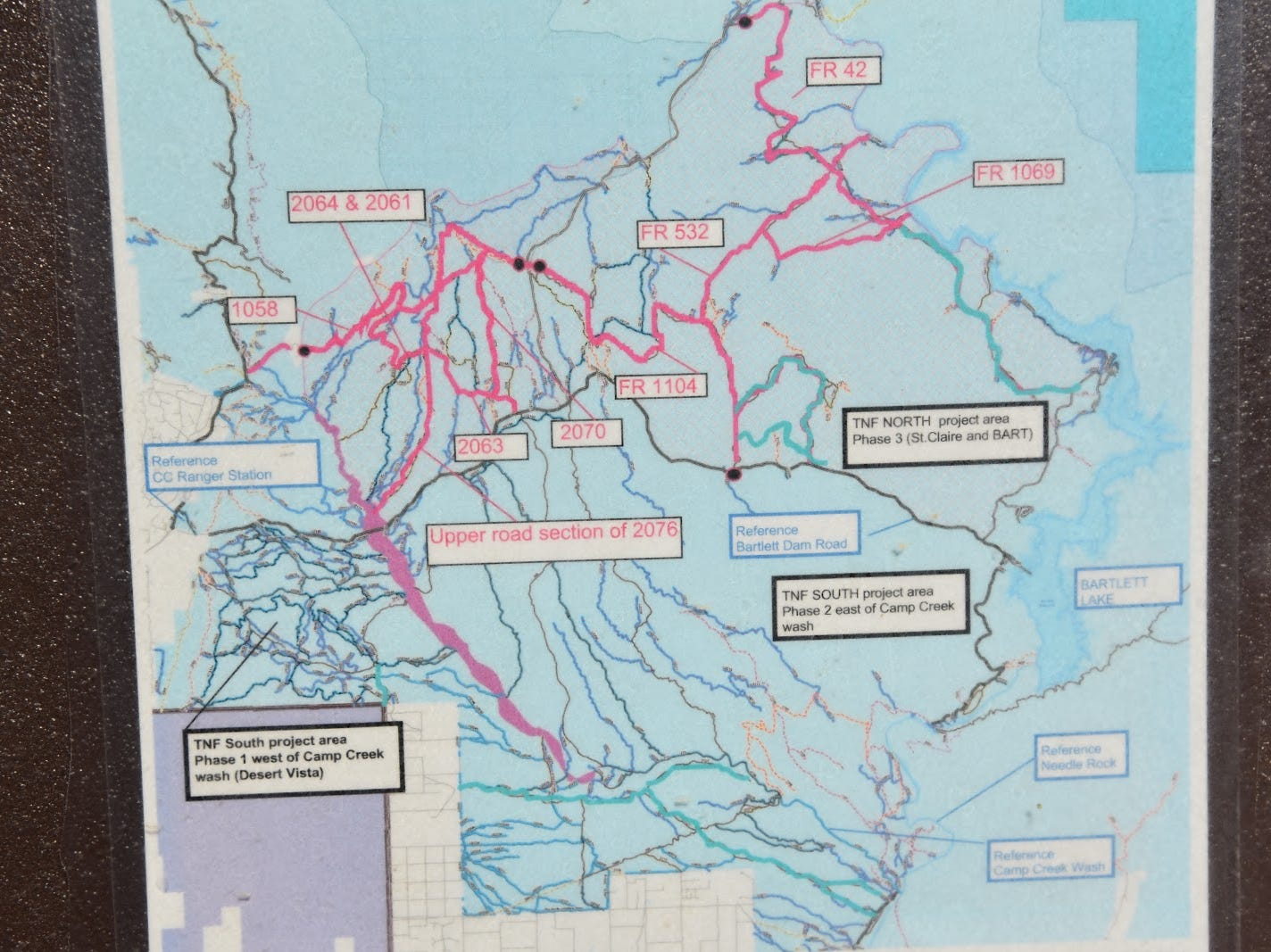 Trailhead map shows the system of shared-use roads.