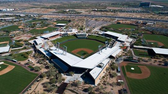 Aerial drone view of Salt River Fields at Talking Stick, Cactus League home of the Arizona Diamondbacks and Colorado Rockies, in Scottsdale, Arizona January 8, 2019.