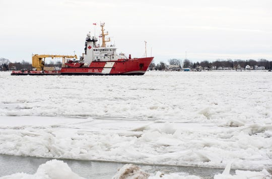 The Canadian Coast Guard cutter Samuel Risley is seen downbound through ice on the St. Clair River Tuesday, Jan. 22, 2019, just north of Marine City.