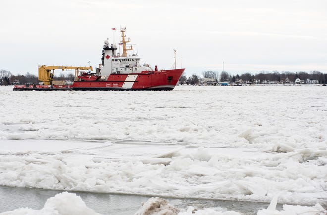 The Canadian Coast Guard cutter Samuel Risley is seen downbound through ice on the St. Clair River Tuesday, Jan. 22, 2019, just north of Marine City. An ice jam formed in the St. Clair River near Algonac over the weekend, resulting in climbing water levels and flooding along the river and in canals. Later in the week, after the ice jam had been cleared, Coast Guard Lt. Jr. Grade Austin Moran said water levels were trending downward.