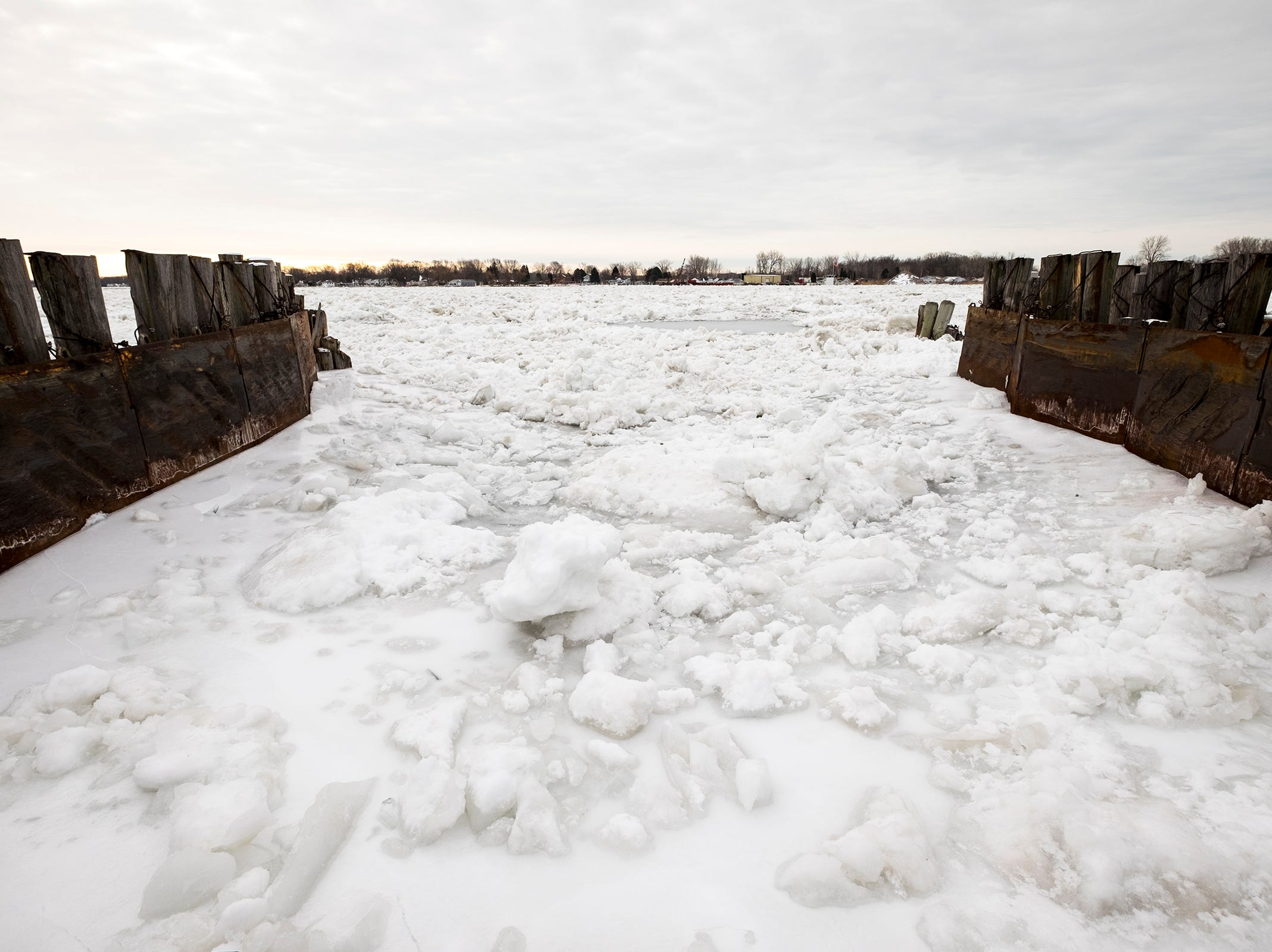 The slips at Champions Auto Ferry in Algonac are filled with ice Tuesday, Jan. 22, 2019. The ferry isn't operating due to ice on the river.