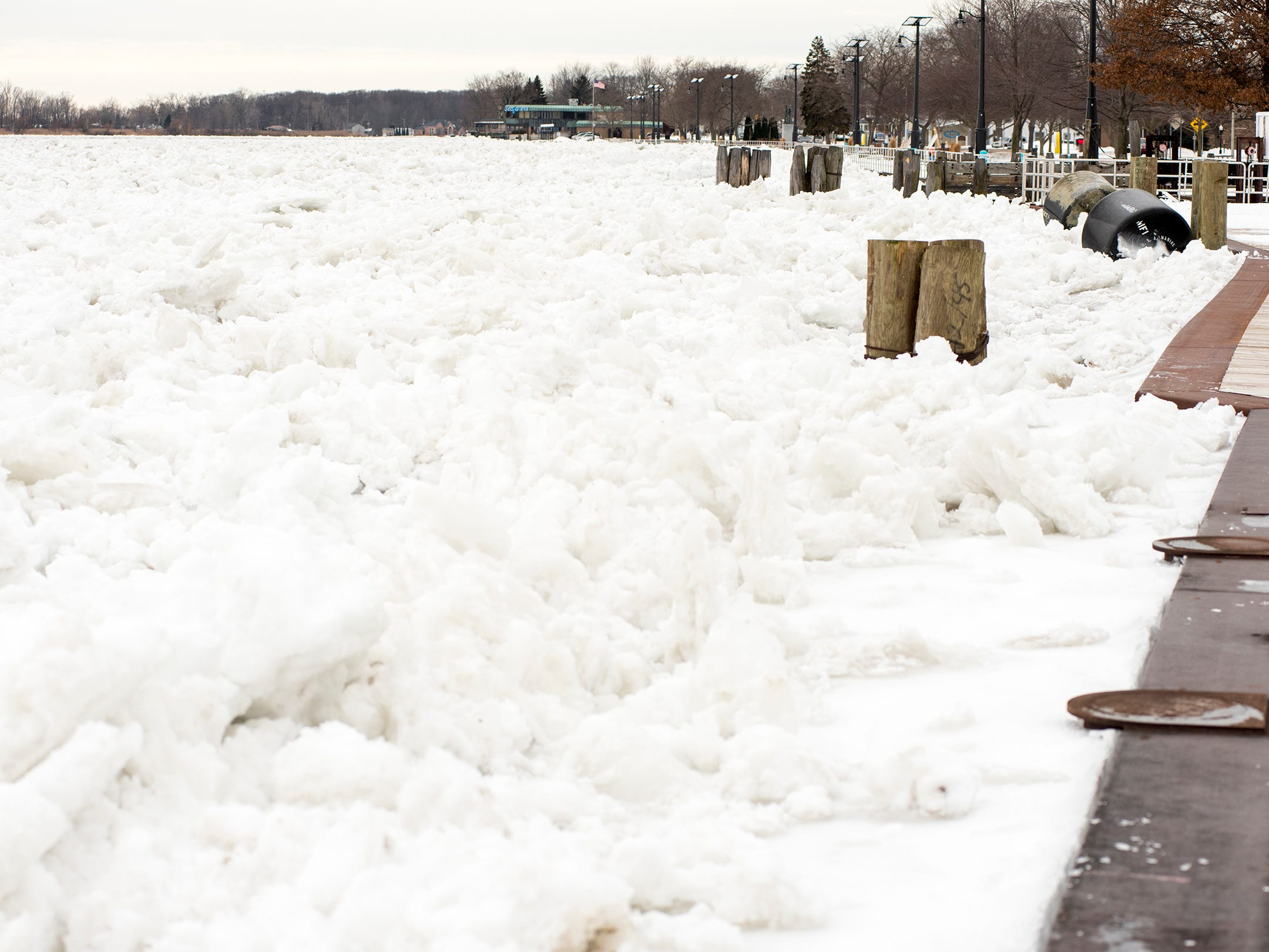 Ice fills the St. Clair River in Algonac Tuesday, Jan. 22, 2019.
