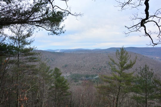 The first view along the Pine Knob Loop Trail in Sharon, Conn.