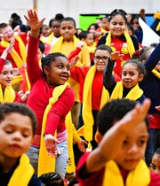 Students and staff celebrate during Lincoln Charter's School Choice assembly at the school in York City, Tuesday, Jan. 22, 2019. Dawn J. Sagert photo