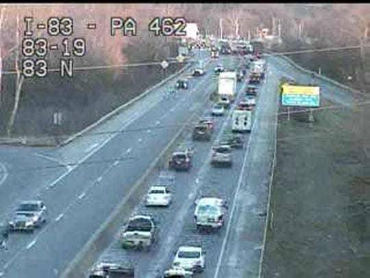 Stop and go traffic on I-83 northbound after a multiple vehicle crash.