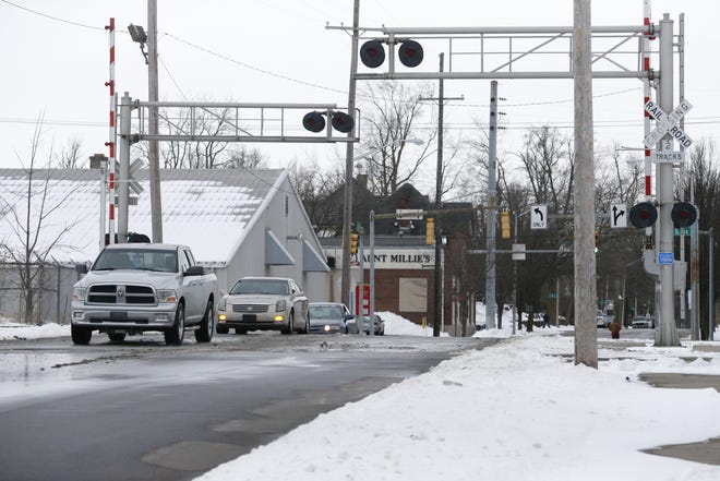 The railroad crossing on North 12th Street near the intersection with North E is scheduled to be replaced this year.