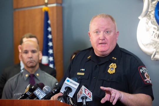 Greece Police Chief Patrick Phelan discusses the arrests of four people in connection to an alleged plot to bomb a Muslim community in Delaware County during a press conference on Jan. 22, 2019. The investigation, which led to the arrest of a 16-year-old Greece student, originated at Greece Olympia Academy on Friday, Jan 18.