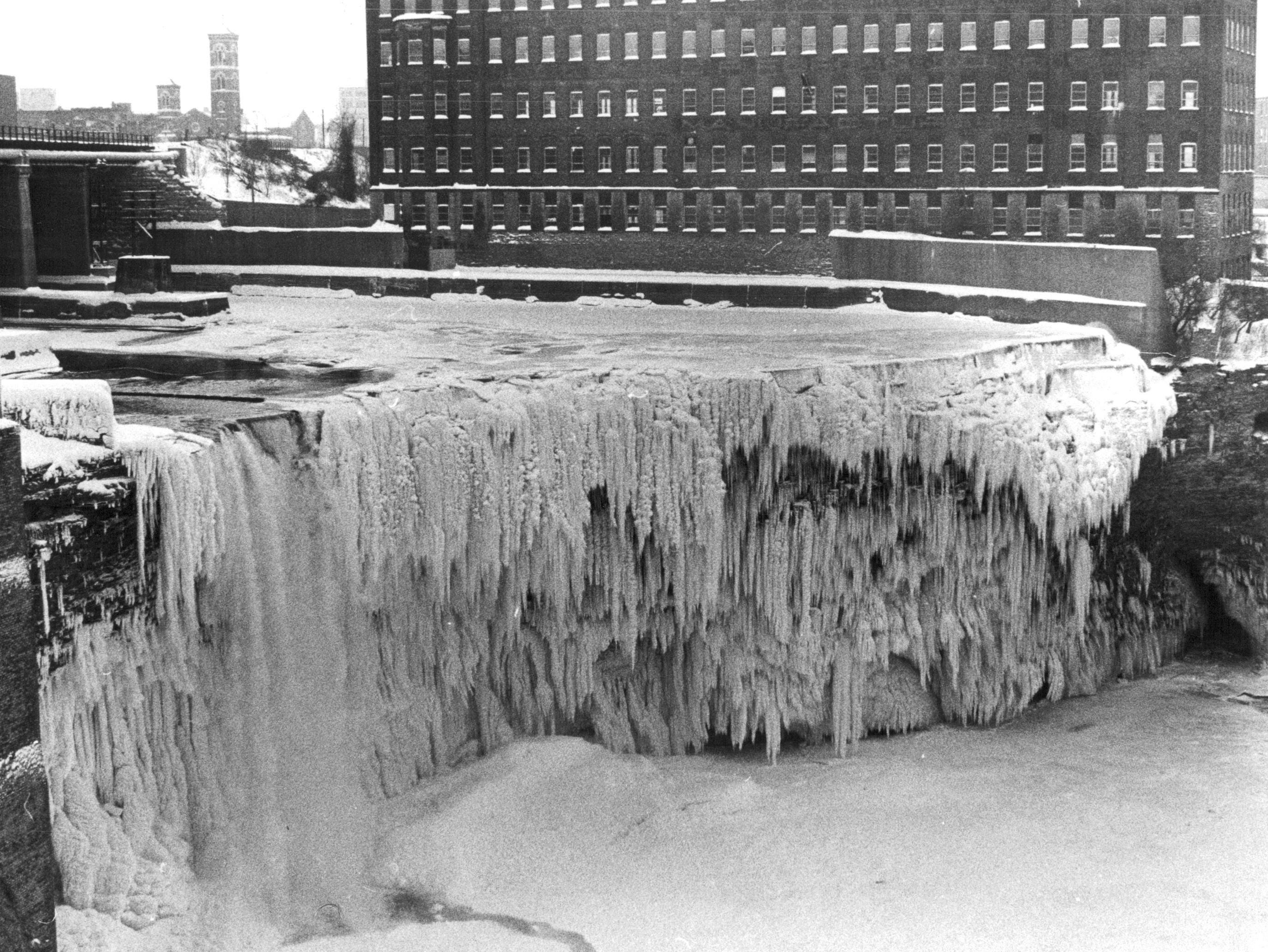 This photo from 1980 shows Upper Falls almost completely iced over.